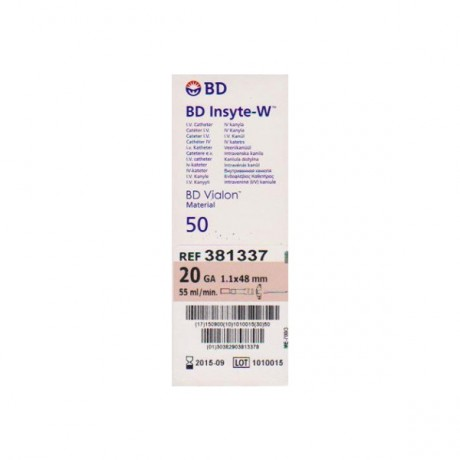Catheter I.V BD Insyte W 1,1X48mm 20G (Rose)